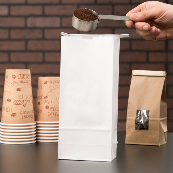 1 lb. White Paper Coffee Bag with Reclosable Tin Tie - 100/Pack