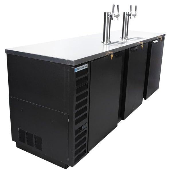 Beverage-Air DD94HC-1-B (2) Double Tap Kegerator Beer Dispenser - Black, (5) 1/2 Keg Capacity
