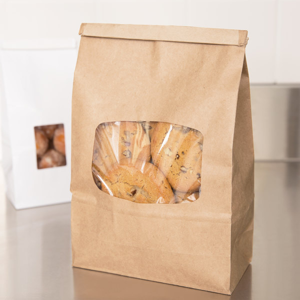 1 lb. Brown Kraft Customizable Paper Cookie / Coffee / Donut Bag with Window and Tin Tie Closure - 50/Pack
