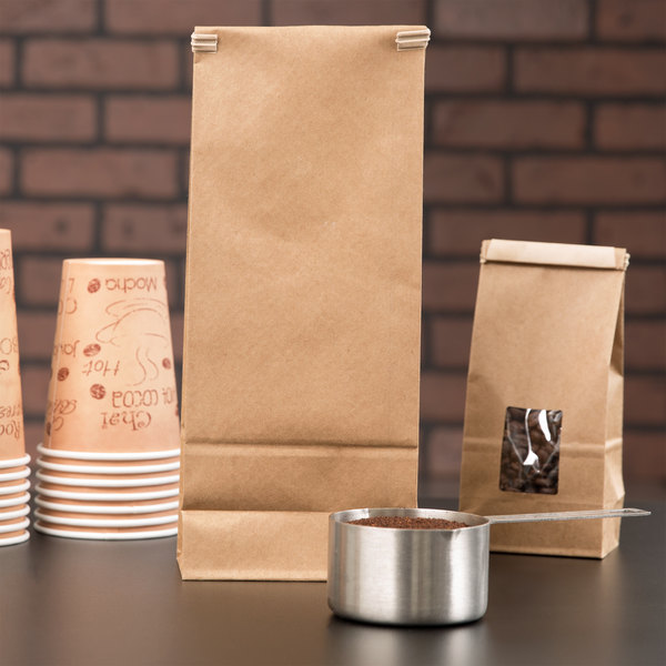 2 lb. Brown Kraft Customizable Paper Coffee Bag with Reclosable Tin Tie - 50/Pack