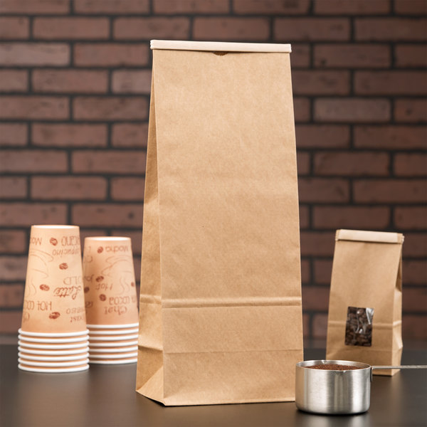 5 lb. Brown Kraft Customizable Paper Coffee Bag with Reclosable Tin Tie - 25/Pack