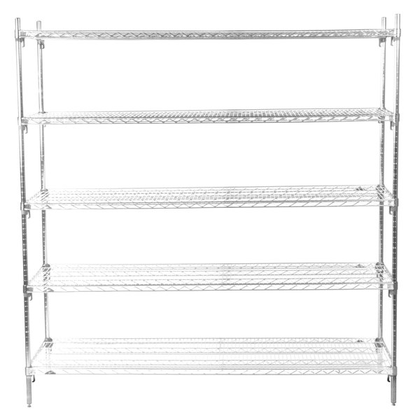 "Metro 5A577C Stationary Super Erecta Adjustable 2 Series Chrome Wire Shelving Unit - 24"" x 72"" x 74"""