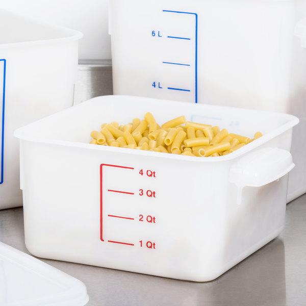 Rubbermaid FG9F0400WHT 4 Qt White Square Food Storage Container