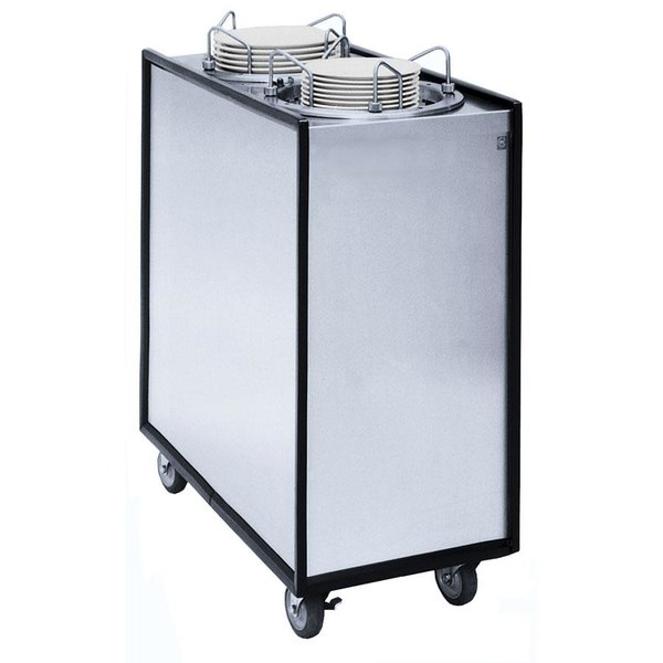 """APW Wyott Lowerator ML2-9A Mobile Enclosed Adjustable Unheated Two Tube Dish Dispenser for 3 1/2"""" to 9 1/8"""" Dishes"""