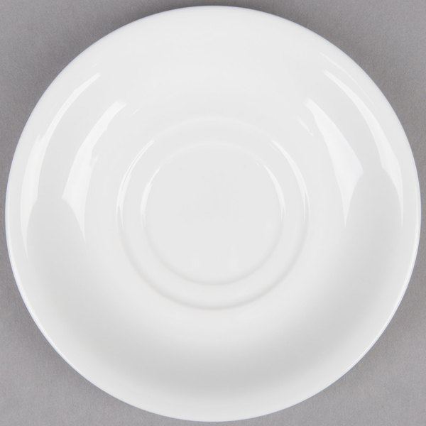 6 inch Bright White Porcelain Saucer - 36/Case