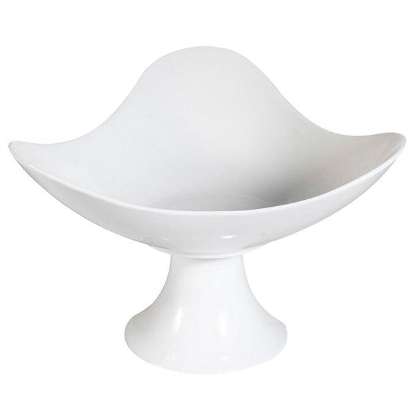 CAC CFST-13 Bone White Porcelain Footed Cake / Fruit Dish - 4/Case
