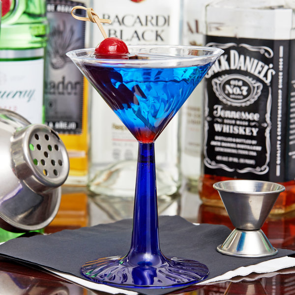 Fineline Flairware 2306-BL 6 oz. 2-Piece Plastic Martini Glass with Cobalt Blue Base - 12/Pack