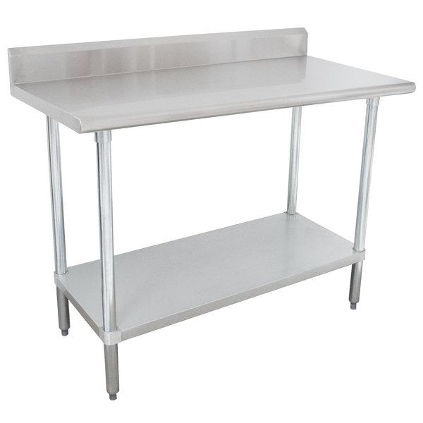 "16 Gauge Advance Tabco KLAG-304-X 30"" x 48"" Stainless Steel Work Table with 5"" Backsplash and Galvanized Undershelf"