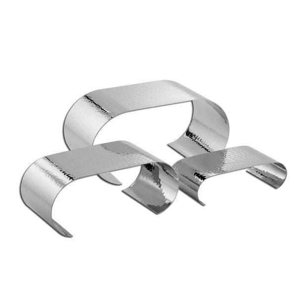 American Metalcraft CRH3 Hammered Stainless Steel Curl Riser Set - 3/Set