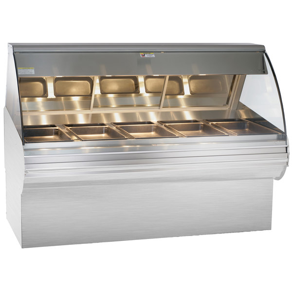 "Alto-Shaam HN2SYS-72 S/S Stainless Steel Heated Display Case with Curved Glass and Base - Full Service 72"" Main Image 1"