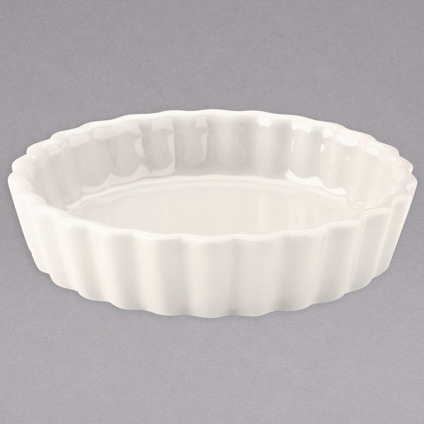 Hall China 8640AWHA Ivory (American White) 8 oz. Fluted Souffle / Creme Brulee Dish - 24/Case