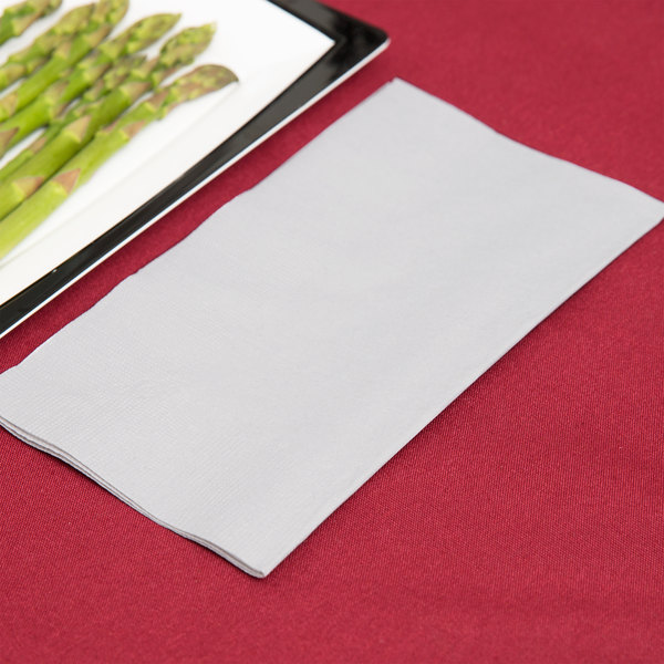 "Silver / Gray Paper Dinner Napkin, Choice 2-Ply Customizable, 15"" 17"" - 1000/Case"