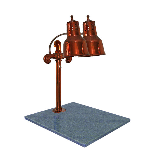 """Hanson Heat Lamps DLM/GB/SC Dual Lamp 18"""" x 20"""" Smoked Copper Carving Station with Natural Granite Base"""