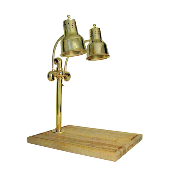 """Hanson Heat Lamps DLM/MB-2015/BR Dual Lamp 20"""" x 15"""" Brass Carving Station with Maple Block Base and Gravy Lane"""