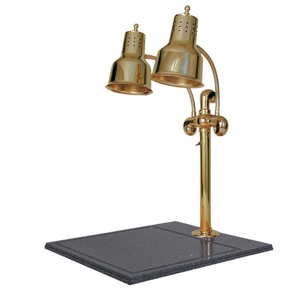 """Hanson Heat Lamps DLM/BB/BR Dual Lamp 18"""" x 20"""" Brass Carving Station with Synthetic Granite Base"""