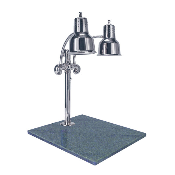 """Hanson Heat Lamps DLM/GB/CH Dual Lamp 18"""" x 20"""" Chrome Carving Station with Natural Granite Base"""