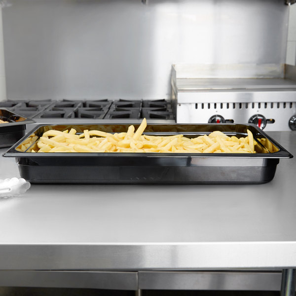 "Rubbermaid FG230P00BLA Full Size Black High Heat Food Pan - 2 1/2"" Deep"
