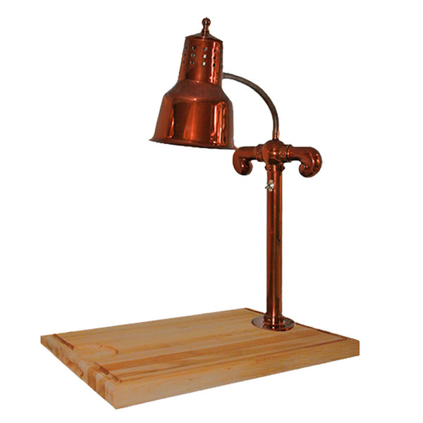 """Hanson Heat Lamps SLM/MB-2015/SC Single Lamp 20"""" x 15"""" Smoked Copper Carving Station with Maple Block Base and Gravy Lane"""