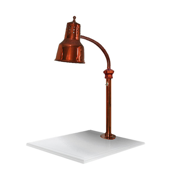 """Hanson Heat Lamps ESL/WB/SC Single Lamp 18"""" x 20"""" Smoked Copper Carving Station with White Solid Base Main Image 1"""