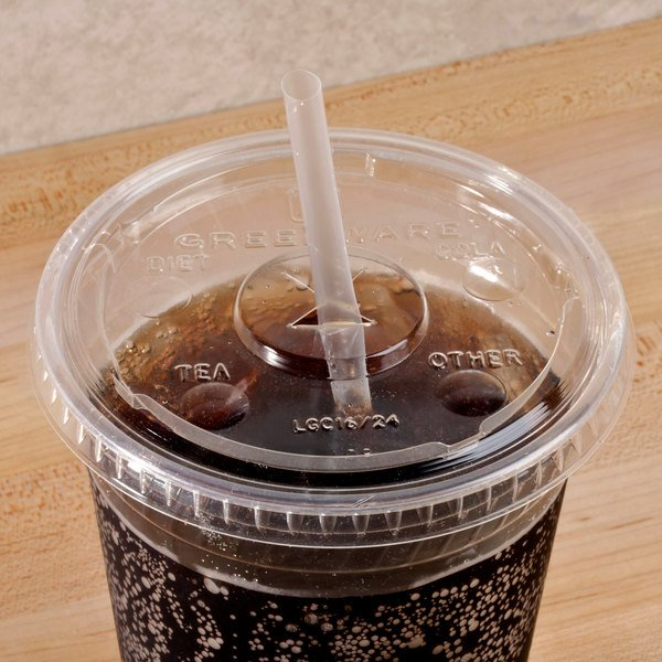 Fabri-Kal Greenware LGC16/24 16 and 24 oz. Compostable Clear Plastic Lid with Straw Slot - 100/Pack