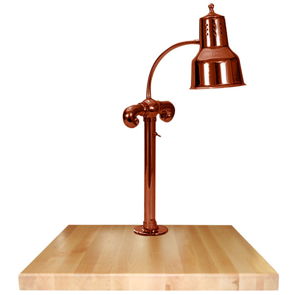 """Hanson Heat Lamps SLM/MB-2424/SC Single Lamp 24"""" x 24"""" Smoked Copper Carving Station with Maple Block Base"""
