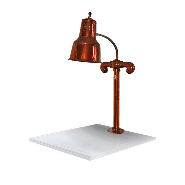 "Hanson Heat Lamps SLM/WB/SC Single Lamp 18"" x 20"" Smoked Copper Carving Station with White Solid Base"