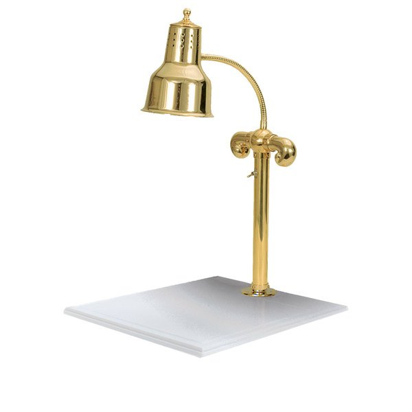 """Hanson Heat Lamps SLM/WB/BR Single Lamp 18"""" x 20"""" Brass Carving Station with White Solid Base"""