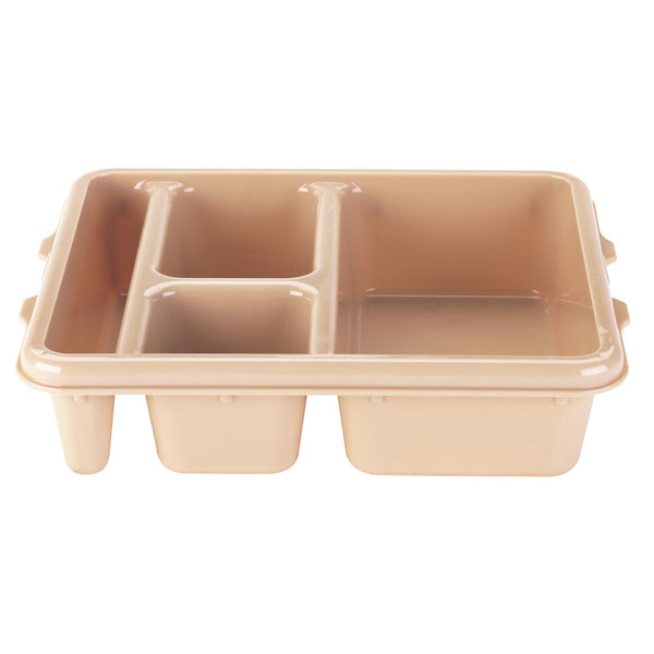 """Cambro 9114CW133 Camwear 9"""" x 11"""" Beige 4 Compartment Meal Delivery Tray - 24/Case"""