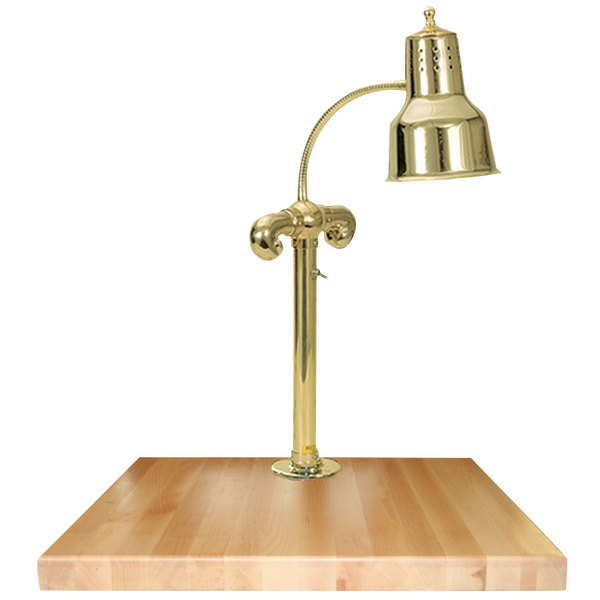"""Hanson Heat Lamps SLM/MB-2424/BR Single Lamp 24"""" x 24"""" Brass Carving Station with Maple Block Base"""