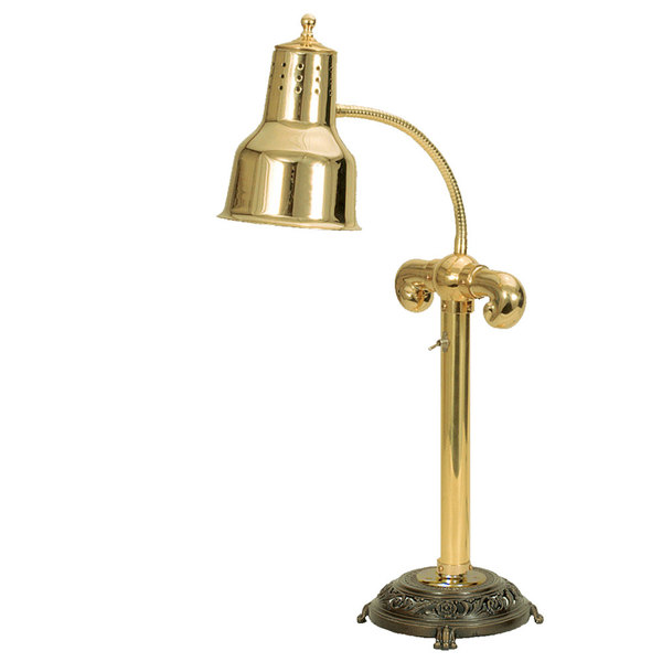 """Hanson Heat Lamps SLM/RB9-ANT/BR Brass Single Bulb Flexible Freestanding Heat Lamp on 9"""" Antique Style Base with Brass Finish"""