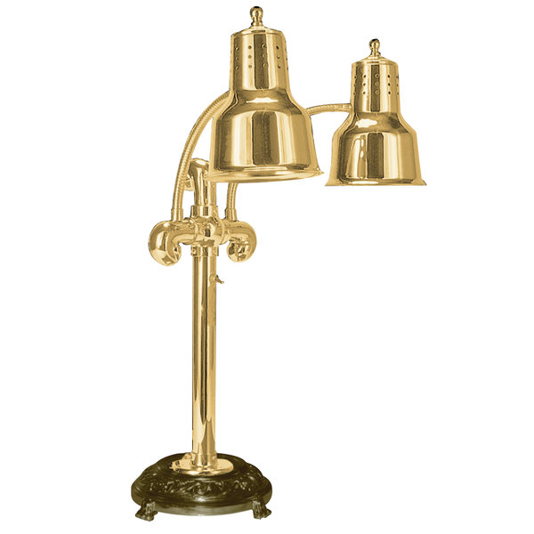 "Hanson Heat Lamps DLM/RB9/ANT/BR Portable Single 9"" Brass Freestanding Heat Lamp with Dual Bulbs and Round Antique Style Base"
