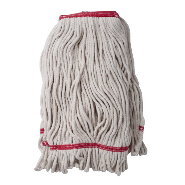 """Continental A11112 24 oz. Loop End Natural Cotton Mop Head with 1 1/4"""" Band"""