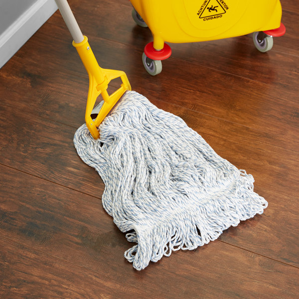 Continental Huskeefinish A11413 32 Oz Blue And White Blend Loop End Finish Mop Head With 1 1 4 Band