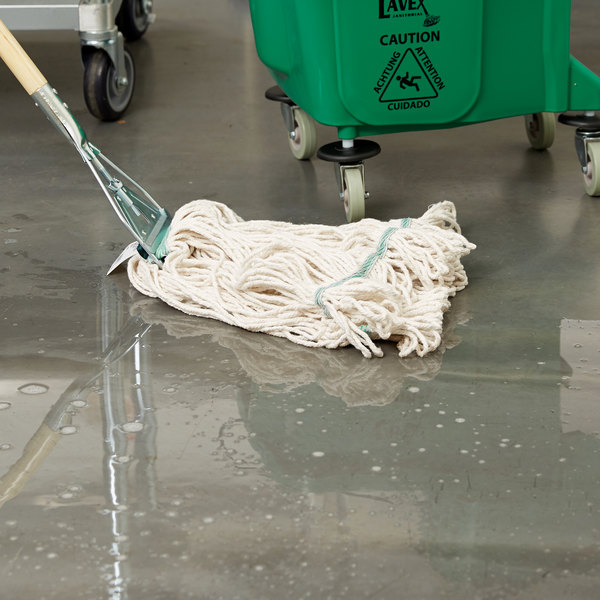 """Continental Wilen A02512 J.W. Atomic Loop™ 24 oz. Blend Loop End Natural Mop Head with 1 1/4"""" Band Main Image 6"""