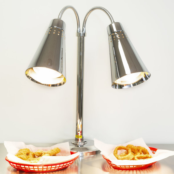 Hanson Heat Lamps DLM/900/ST Two Lamp Stainless Steel Freestanding Heat Lamp with Dual Bulbs and 900 Series Shades