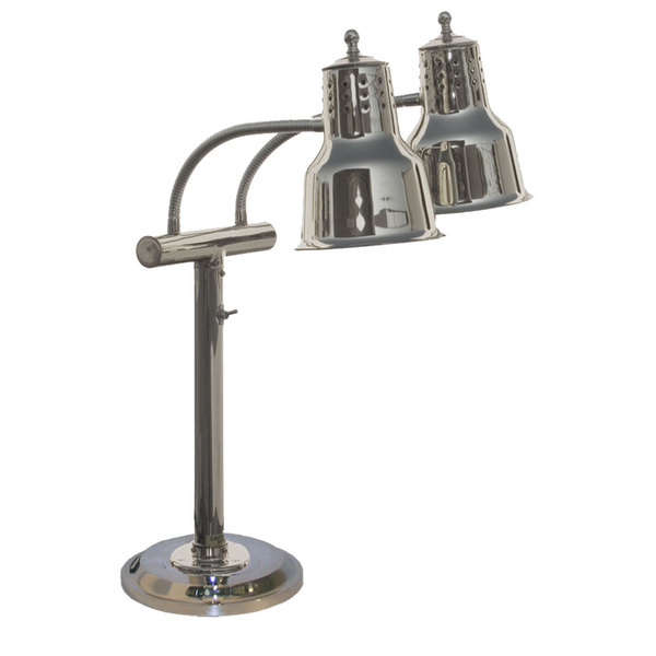 """Hanson Heat Lamps EDL/RB9/SOL/CH Dual Bulb Freestanding Flexible Heat Lamp with Chrome Finish - 9"""" Round Base"""