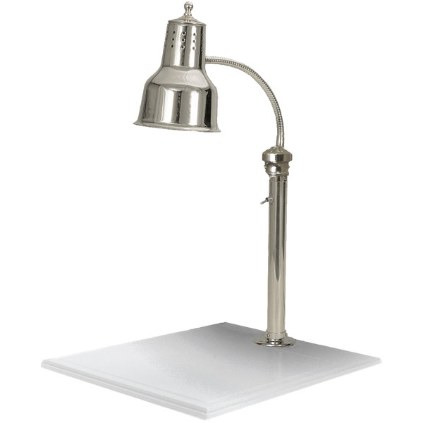 """Hanson Heat Lamps ESL/WB/CH/1118 Single Bulb 11"""" x 18"""" Chrome Carving Station with White Solid Base"""