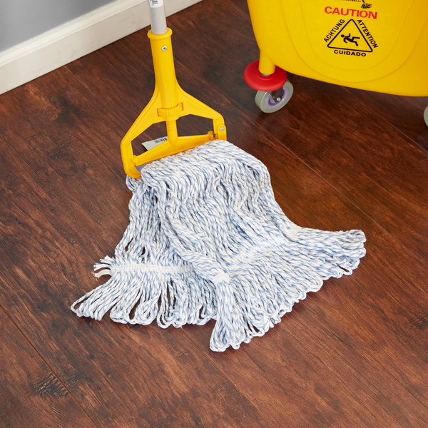 Continental Huskeefinish A11411 16 Oz Blue And White Blend Loop End Finish Mop Head With 1 1 4 Band