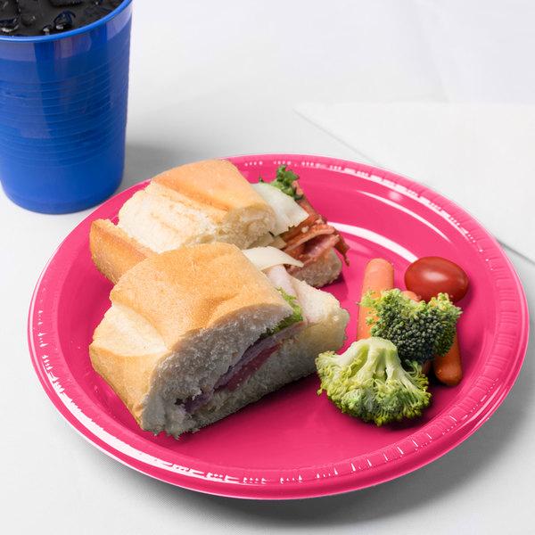 "Creative Converting 28177021 9"" Hot Magenta Pink Plastic Plate - 240/Case"