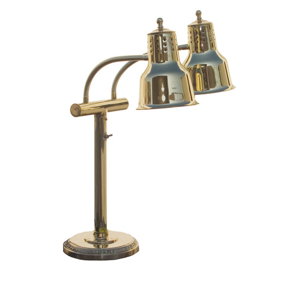 "Hanson Heat Lamps EDL/RB9/SOL/BR Dual Bulb Freestanding Flexible Heat Lamp with Brass Finish - 9"" Round Base"