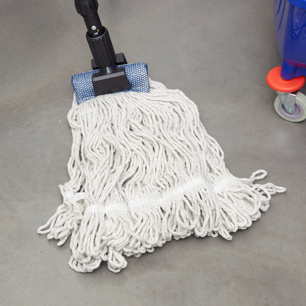 """Continental Wilen A05003 32 oz. Blend Loop End Natural Mop Head with 5"""" Band"""