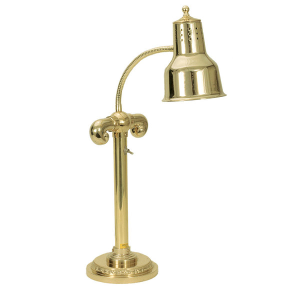 "Hanson Heat Lamps SLM/RB7-SOL/BR Brass Single Bulb Flexible Freestanding Heat Lamp on 7"" Round Solid Base with Polished Brass Finish"