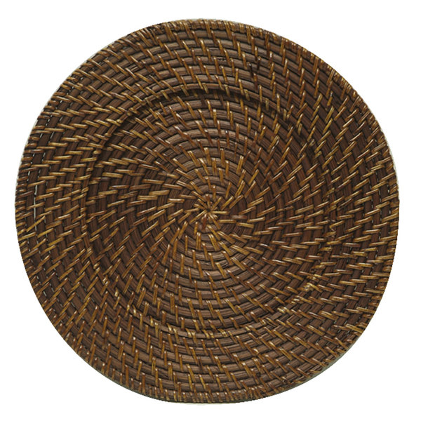 The Jay Companies 13 inch Round Chestnut Rattan Charger Plate