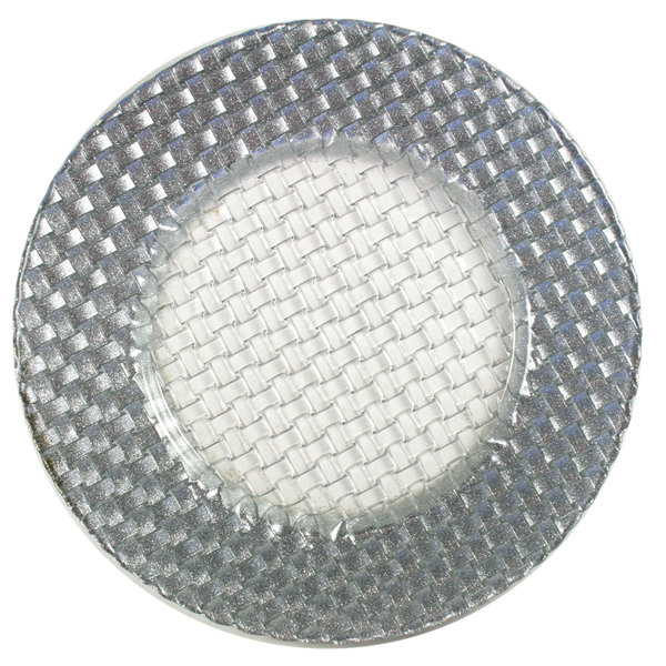 "The Jay Companies 13"" Round Glass Braid Silver Glitter Charger Plate"