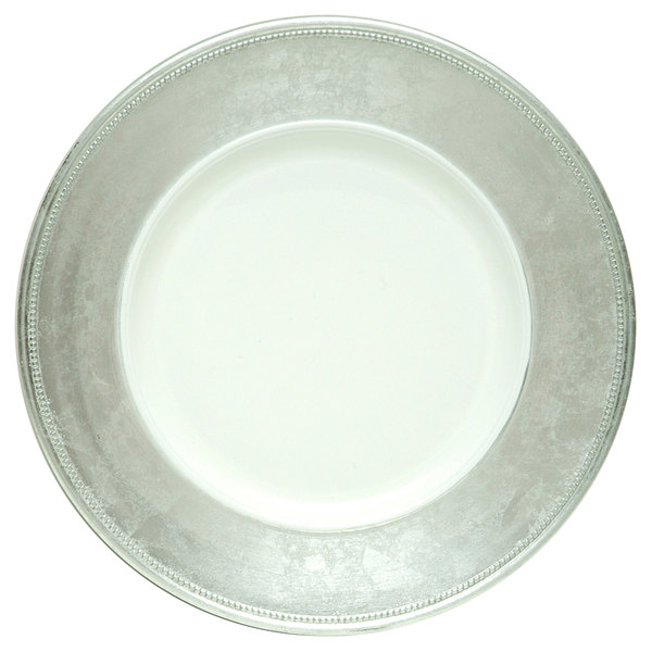 """The Jay Companies A466HRK-W 13"""" Round Silver Rim Polypropylene Charger Plate"""