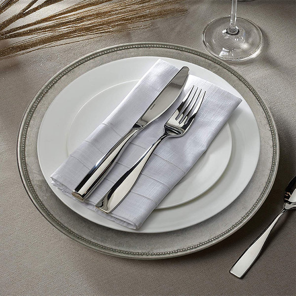 """The Jay Companies A466HRK-W 13"""" Round Silver Rim Plastic Charger Plate"""