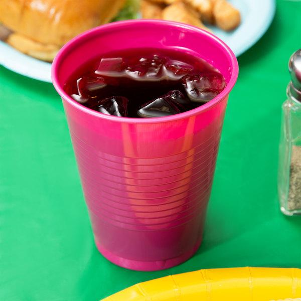 Creative Converting 28177081 16 oz. Hot Magenta Pink Plastic Cup - 240/Case Main Image 2