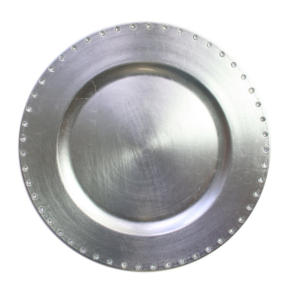 """The Jay Companies 13"""" Round Silver Jeweled Rim Polypropylene Charger Plate"""