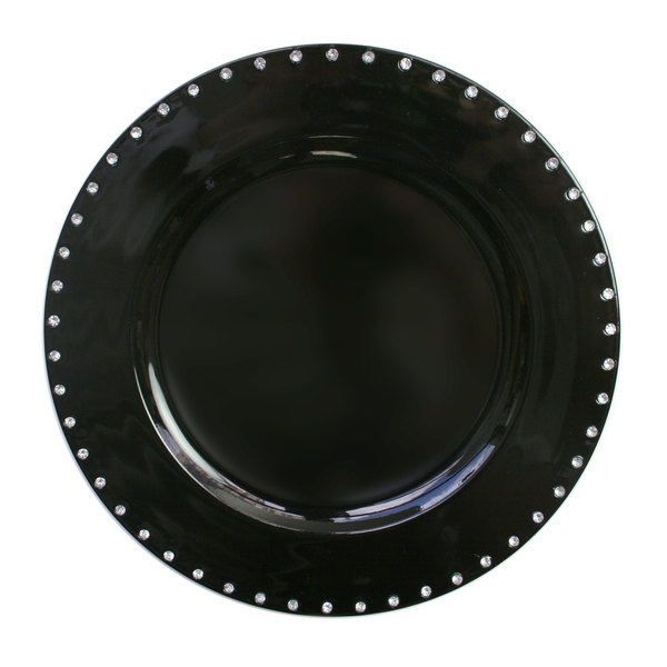 "The Jay Companies 13"" Round Black Jeweled Rim Polypropylene Charger Plate"