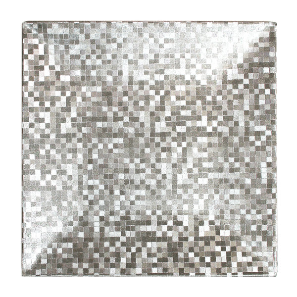 "The Jay Companies 1427368BK-12 12"" x 12"" Square Silver Mosaic Plastic Charger Plate"